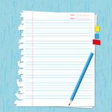 Paper sheet and pencil. On wooden backgrounds Stock Image