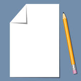 Paper sheet and pencil. White paper Regular pencil with eraser blue background. Vector illustrations Royalty Free Stock Photos