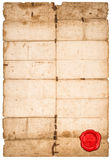Paper sheet red seal Used stained paper texture edges Royalty Free Stock Photography