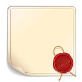Paper Sheet with Red Wax Seal - Approved. Vector Royalty Free Stock Photo