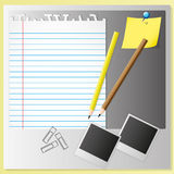Paper sheet and sets. Memo set and photo by illustrations Royalty Free Stock Images