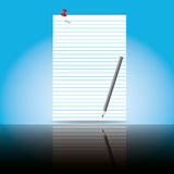 Paper sheet and shadow. Beautiful paper sheet with pencil and shadow Stock Images