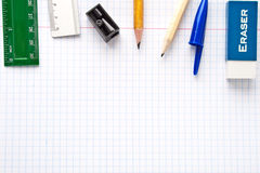 Paper sheet with stationery collection Stock Image
