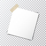 Paper sheet on sticky tape with transparent shadow isolated on a transparent background. Paper  sheet on sticky tape with transparent shadow isolated on a Stock Images