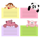 Paper sheet template with animals Stock Images