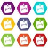 Paper sheet with text qwerty icon set color hexahedron. Paper sheet with text qwerty icon set many color hexahedron isolated on white vector illustration Royalty Free Stock Image