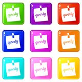 Paper sheet with text qwerty icons 9 set. Paper sheet with text qwerty icons of 9 color set isolated vector illustration Royalty Free Stock Photos