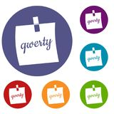 Paper sheet with text qwerty icons set. In flat circle red, blue and green color for web Royalty Free Stock Photos