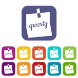 Paper sheet with text qwerty icons set flat. Paper sheet with text qwerty icons set vector illustration in flat style In colors red, blue, green and other Royalty Free Stock Photos