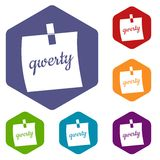 Paper sheet with text qwerty icons set hexagon Royalty Free Stock Photos
