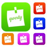 Paper sheet with text qwerty set color collection Stock Photo
