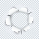Paper sheet with torn edges paper and ragged hole. For your design. Vector illustration Royalty Free Stock Photo
