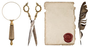 Paper sheet with wax seal, ink feather pen, loupe and scissors. Stock Images