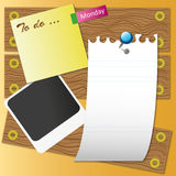 Paper sheet on wood. Board by illustrations Royalty Free Stock Photo