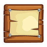 Paper sheet on wood board Royalty Free Stock Images