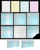 Paper sheets. Set of twelve paper sheets isolated on black background.EPS file available Stock Photography