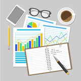 Paper sheets with analytic graphs and charts. Financial Audit Concept, SEO analytics, tax audit, working, management. Royalty Free Stock Photography
