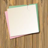 Paper sheets. Background with paper sheets on old wooden planks. vector illustration Royalty Free Stock Image
