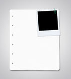 Paper sheets with blank instant photo Stock Photography