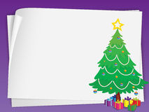 Paper sheets and christmas tree Royalty Free Stock Photography