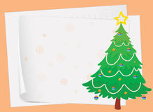 Paper sheets and a christmas tree Stock Image