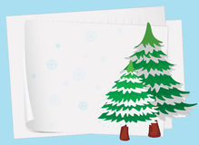 Paper sheets and a christmas tree. Illustration of paper sheets and a christmas tree on a colored background Royalty Free Stock Photos