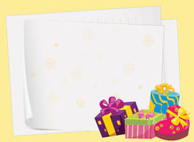Paper sheets and gift boxes Stock Photo