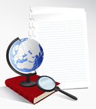 Paper Sheets and Globe Royalty Free Stock Photos