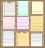 Paper sheets, lined paper and note paper Stock Image