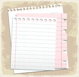 Paper sheets, lined paper and note paper Royalty Free Stock Photos