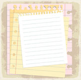 Paper sheets, lined paper and note paper Stock Images