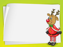 A paper sheets and a reindeer Royalty Free Stock Images