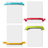 Paper sheets with ribbons Stock Photo