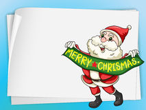 Paper sheets and santa claus Stock Image