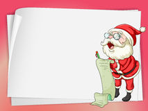 Paper sheets and santa claus Stock Images