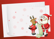Paper sheets, santa claus and reindeer Royalty Free Stock Images