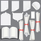 Paper sheets, scrolls  and book set Stock Photo
