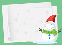 Paper sheets and snowman Stock Images