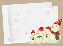 Paper sheets and snowmen. Illustration of paper sheets and snowmen on a colored background Stock Image