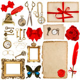 Paper sheets with vintage accessories isolated on white. scrapbo Stock Photo