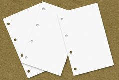 Paper Sheets On Wood Plane Royalty Free Stock Photography