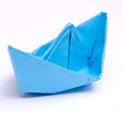 Paper ship. On the white background Royalty Free Stock Photo