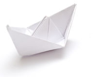 Paper ship. On the white background Stock Photography