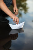 paper ship Royaltyfri Bild