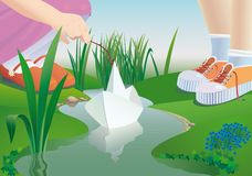 Paper ship. Children start a paper ship on a stream. a vector illustration Stock Photography