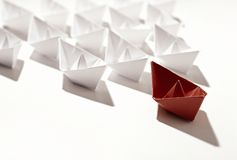 Paper ship competition. Isolated paper ships on white Royalty Free Stock Photos