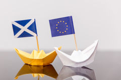 Paper ship with european and scots flag Stock Photo