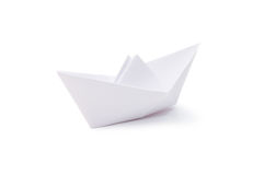 Paper ship isolated over white Stock Photography