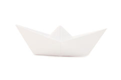 Paper ship isolated over white Royalty Free Stock Photo