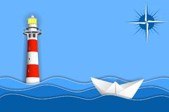 Paper ship in ocean waves, lighthouse and sign of a compass. Paper layers and shapes as sea landscape vector illustration